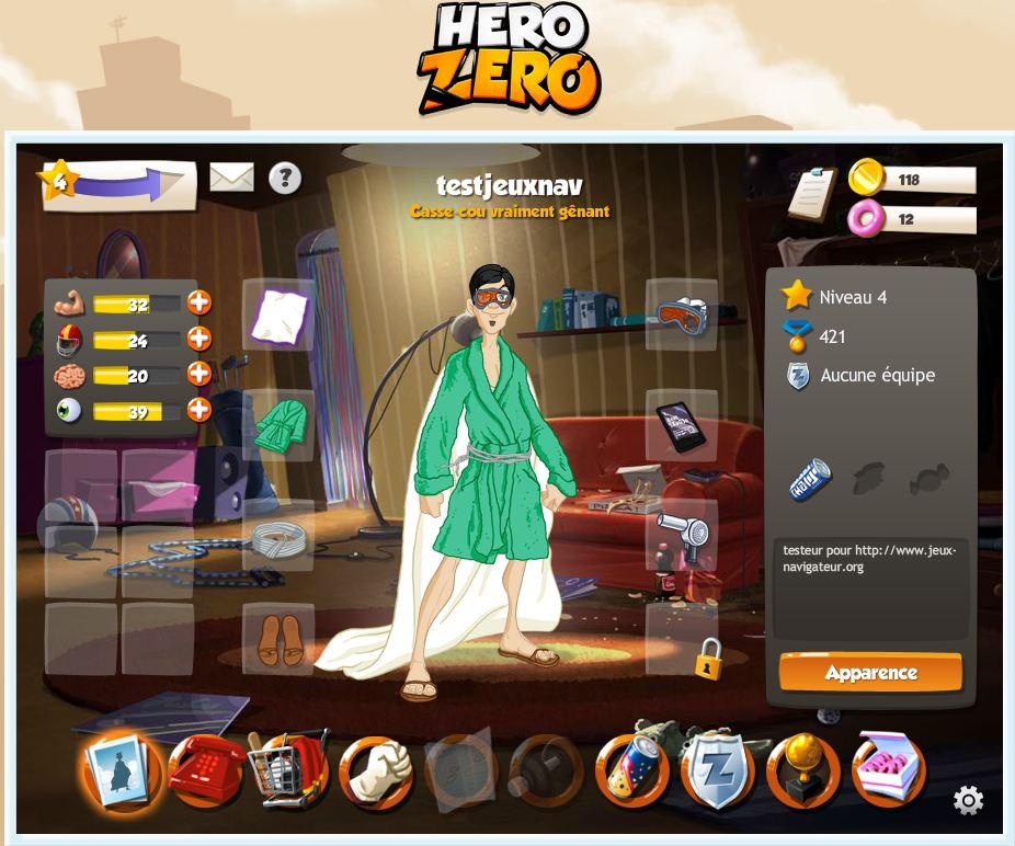 page d'accueil héro zero